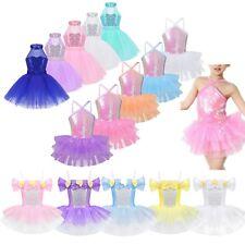 Girls Kids Tutu Ballet Dance Unitard Dress Sequined Ballerina Dancewear Costume