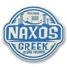 2 X 10cm NAXOS Grecia ADESIVO VINILE PORTATILE VIAGGIO BAGAGLI tag greco REGALO # 9832
