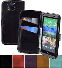 Exclusivo Funda Suncase Auténtico Cuero Libro Móvil Carcasa para HTC One M8 M8s