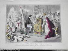 Hand Coloured Comic History Engraving c1875: Edward & Medical Advisers