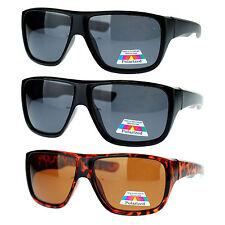 Mens Oversized Rectangular Anti Glare Polarized Sporty Plastic Biker Sunglasses