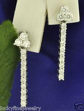 18k Solid White Gold Dangling 1.40 ct Natural Diamond Earring Earrings vs2-si1 E