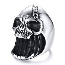 Stainless Steel Men's Bottle Opener Laughing Skull Biker Ring Size 8-12