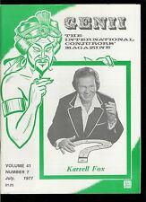 Rare Magic Magazine Genii Karrell Fox 1977 Magician Conjuring Tricks