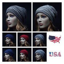 Knit Reversible Men's Women's Baggy Beanie Oversize Hat Ski Slouchy 2Tone Unisex