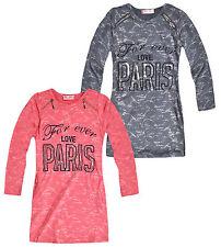 Girls Long Sleeved Love Paris Dress New Girls Tunic Slogan Dresses 3-12 Years