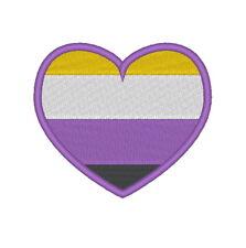 E0241  EMBROIDERED NON BINARY PRIDE FLAG HEART 80MM X 70MM