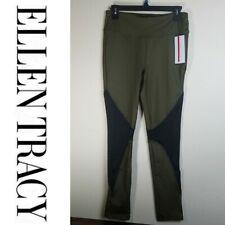 Ellen Tracy Active Dark Olive Green & Black Leggings - M, XL