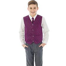 Boys Suit 4 Piece Grey Waistcoat Suit Purple Dobby Pageboy Formal Wedding