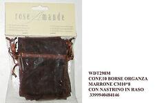 10pz sacchetto tulle velo organza cioccolato confetti bomboniera nastrino raso