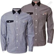 Mens Shirt Tokyo Laundry Full Sleeve Denim Chambray Cotton Cord Collared 1H 1249