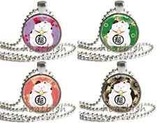 Chubby MANEKI NEKO Japanese Fortune Lucky Cat 1 Inch Round Glass Photo Pendant