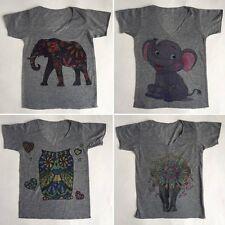 Children's kids boy's girl's owl elephant hippy t-shirt top hippie boho 4 yrs