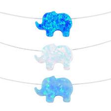 Opal Elephant Transparent Necklace - Floating Illusion Elephant Nylon Necklace