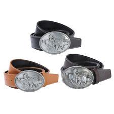 Vintage Western Leather Belt Wide Cowboy Buckle Waist Strap Jean Accessories