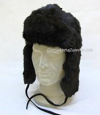 NUOVO Nero russo in pelliccia sintetica Cosacco Stile Cappello Invernale Orecchie FLAP DOWN-Taglia S, M, L, XL