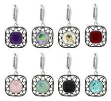 Sterling Silber Platz Sicherheit Ohrringe mit SWAROVSKI 4470 10mm Kristallen