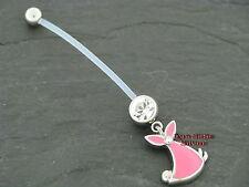 Bauchnabelpiercing SET für die Schwangerschaft BABYTUCH rosa mit Kristall klar