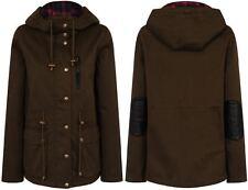 Militaire femme parka veste à capuche pardessus manteau outwear 100% coton élégant uk