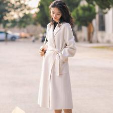 Winter Women Wool Lapel Collar Trench Coats Parka Luxury Formal Long Windbreaker