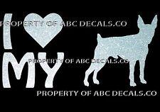 VRS LOVE My Dog Toy Fox Terrier Heart Puppy Adoption CAR DECAL METAL STICKER