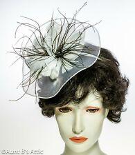 Kentucky Derby Ladies Mini Fascinator Blk Or Wht Headband Hat W/ Feather Flower