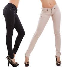 Pantaloni donna skinny slim pizzo ricamati tapestry vita bassa nuovo AR-676