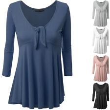 Donna Casual Tops Camicia a maniche lunghe scollo tondo Loose T-shirt blusa Tee