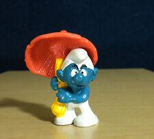 "Smurfs Grouchy Smurf Mushroom Umbrella Vintage Figure PVC Toy 2"" Figurine 20118"