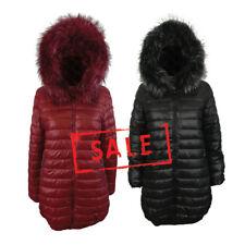 AMAVISSE UK - (RRP £45) Fashion Reversible Puffy Parka Coat Jacket Faux Fur Hood