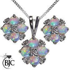 BJC 9 ct Oro Blanco Natural ópalo y diamante Colgante Collar &
