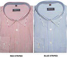GCM Hombre Formal Clásico Rayas Camisas (3143) en TALLA 2xl to 5xl, blue&red