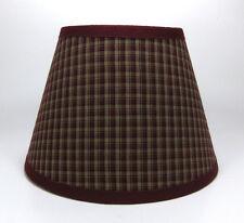 Primitive Burgundy Navy Stripe Plaid Homespun Fabric Lampshade Lamp Shade