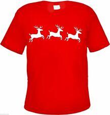T-Shirt mit Motiv RENTIERE - ROT/WEISS - S-3XL - weihnachtsgeschenk weihnachten