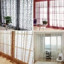 Balcony Flocking Voile Window Curtain Blackout Curtain Living Room Drape Panels