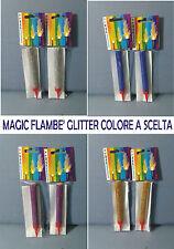 SET 2 CANDELINE MAGIC FLAMBè GLITTER 12 CM ..SCEGLI IL TUO COLORE PARTY FESTA