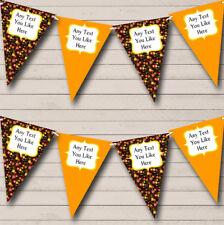 Vintage Shabby Chic Orange Black Wedding Anniversary Party Bunting Banner