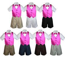 4pc Baby Boys Toddler Formal Fuchsia Vest Bow tie Black Khaki Shorts Set Sm-4T