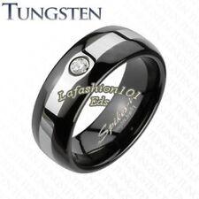8mm Tungsten Black IP 2-Tone Brushed Center Mens Wedding Band W/CZ Ring SZ 9-13