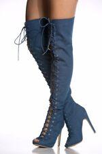 Women Denim Gladiator Lace Up Zipper High Heels Peep Toe Over Knee High Boots Sz