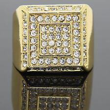 Men's 14K Gold Plated Hip Hop 2 Square 1 Line Side CZ Ring Sizes 7 8 9 10 11 12