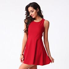 Elegante vestito abito scampanato estivo leggero colorato rosso morbido 4033 53153accbc5