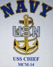 USS CHIEF  MCM-14* MINE COUNTERMEASURES* U.S NAVY W/ ANCHOR* SHIRT