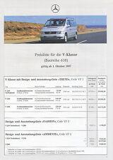 Mercedes V-Klasse Preisliste 1.10.97 V 230 Turbodiesel 280 price list 1997 Preis