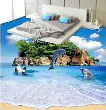 3D Plage Mer Fond d'écran étage Peint en Autocollant Murale Plafond Chambre Art