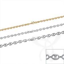 KAFFEEBOHNE Collier Schiffsankerkette Bohnenkette 925 Silberkette oder Vergoldet