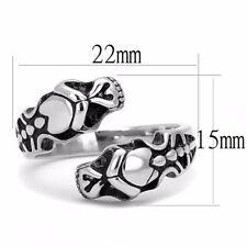 Double Snake Head Animal Shape 316 Stainless Steel Mens Non Tarnish Ring