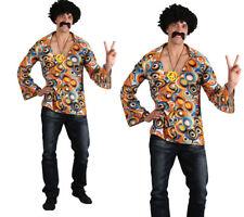 Groovy Hippie Camisa Para Hombre 60s 70s Hippy Fancy Dress Accesorio Tamaños M-xl
