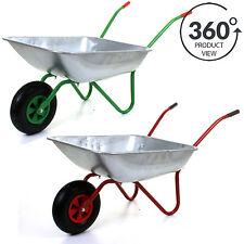 "65L Metal Heavy Duty Galvanised Wheelbarrow 12"" Pneumatic Inflatable Tyre Garden"