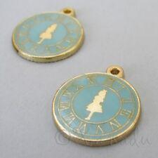Alice In Wonderland 23mm Blue Enamel Clock Charm Pendants C1720 - 2, 5 Or 10PCs